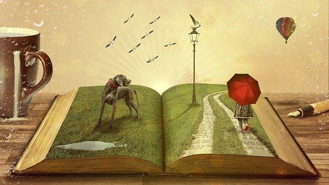 Wiele tytułów jednej historii. Szary pies, postać z parasolką, trawa na stronach książki